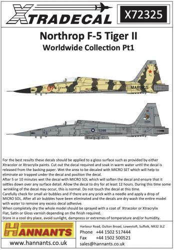 XTRADECAL 1/72 72325 NORTHROP F-5 TIGER II WORLDWIDE COLLECTION PT1