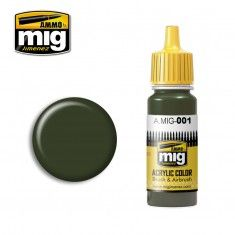 AMMO BY MIG JIMENEZ  0001 OLIVE GREEN OPT.1 17ml ACRYLIC PAINT FOR BRUSH   AIRBRUSH