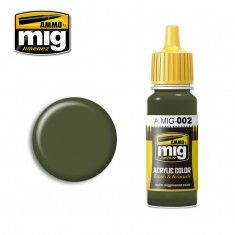 AMMO BY MIG JIMENEZ  0002 OLIVE GREEN OPT.2 17ml ACRYLIC PAINT FOR BRUSH   AIRBRUSH