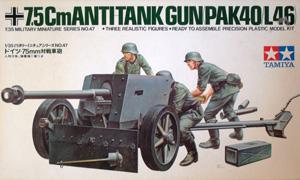 TAMIYA 1/35 35047 7.5cm ANTI-TANK GUN PAK40/L46