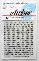 Thumbnail 2053. ARCHER FINE TRANSFERS AR35061B GERMAN VEHICLE NUMBERS AND LETTERS